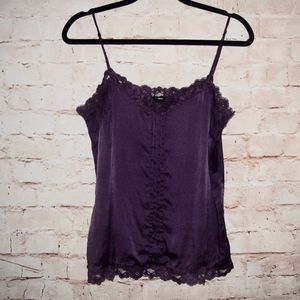 H&M Purple Silk Lace Trim Tank Top